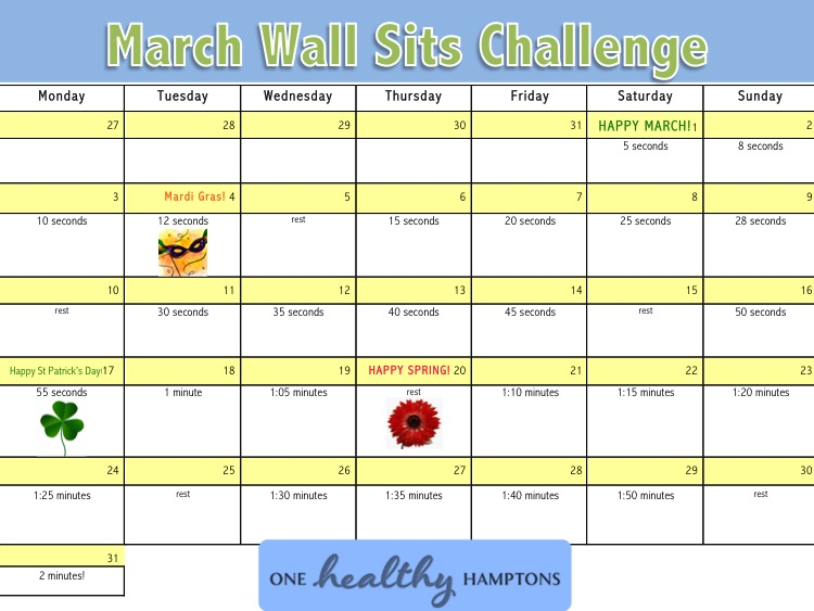 March Wall Sit Calendar
